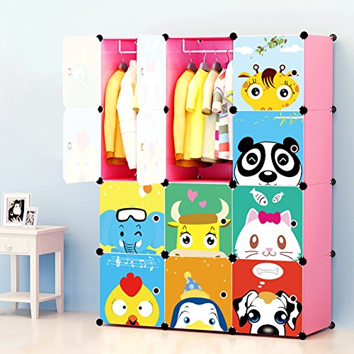 Portable Clothes Closet Wardrobe by Cosyhome-Freestanding Cute Cartoon Storage Organizer with doors for kids , large space and sturdy construction for Children. Pink-12 cube