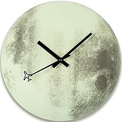 BEW Luminous Wall Clock, Glow-in-Dark Moon Clock, No Numerals Silent Non-Ticking Battery Operated, Retro Decorative Clock for Living/Dining/Kids Bedroom/Kitchen (12 Inch)