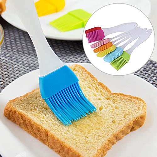 Uheng 7PCS Safe Grill Silicone BBQ Barbecue Basting Brush Pastry Oil Food Brush Turkey Baster Utensil Use Marinating Desserts Baking, Colorful 6.7""