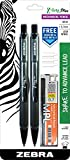 Zebra Z-Grip Plus Mechanical Pencil, 0.7mm, Bonus Lead and Erasers, Black Barrel, 2-Count