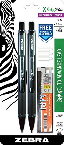 Zebra Z-Grip Plus Mechanical Pencil, 0.7mm, Bonus Lead and Erasers, Black Barrel, (Propelling Pen Refill)