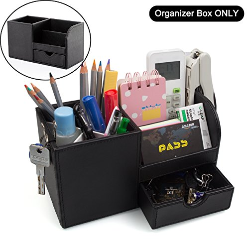 ADVcer Desk Organizer Box with Drawer, Wood Structure PU Leather Table Storage Caddy for Office Home School Dorm Reception, Stationery, Business Card, Mobile Phone, Gadget, Makeup Accessories (Black) by ADVcer