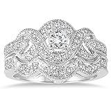 Juego de novia con diamante AG5 Certified de 5/8 quilate TW Twenty Infinity en oro blanco de 10 k (color KL, claridad I2-I3)