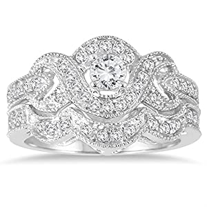 AGS Certified 5/8 Carat TW Diamond Infinity Bridal Set in 10K White Gold (K L Color, I2 I3 Clarity)