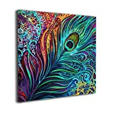 Janvonne Canvas Wall Art Peacock Feathers Decor Frameless Oil Paintings Pictures Modern Decorations For Living Room Bedroom Bathroom Home Decor
