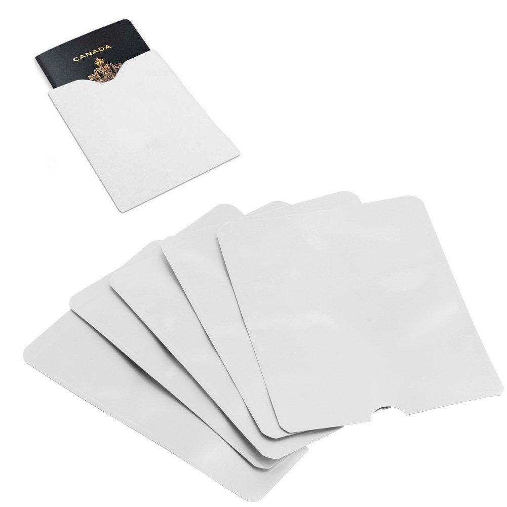 SimpleLif RFID & NFC Blocking Credit Card Protector Sleeves -Passport Secure Sleeve Holder Anti Scan - Signal Defender Blocker Holders (Pack of 5)