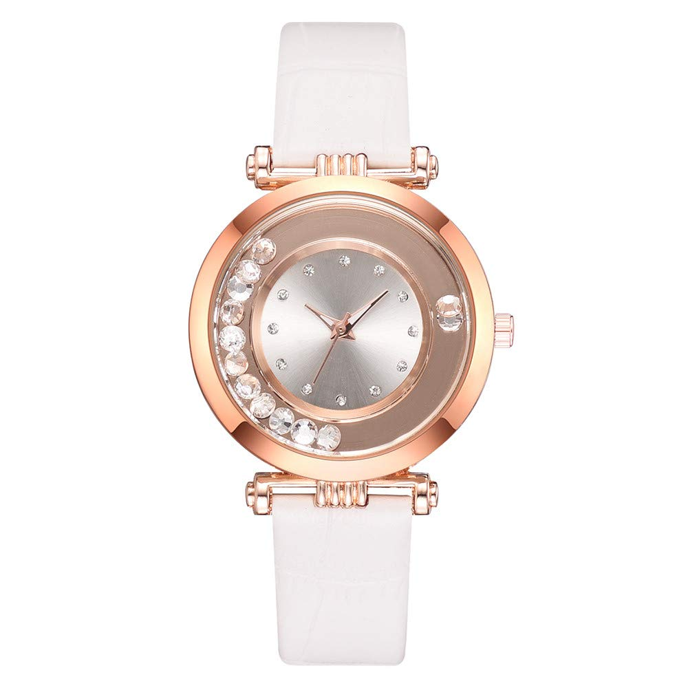 XBKPLO Women Watches Fashion Luxury Iced Out Pave Crystal Quartz Analog Wrist Rose Gold PU Leather Strap