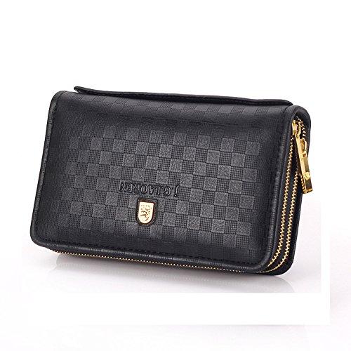 Soft Zipper Clutch Metal Leather Logo Black DeLamode Cover Men's Double Black Genuine Bag nw4qanHx0
