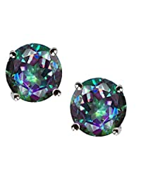 Star K Sterling Silver Round 7mm Earring Studs