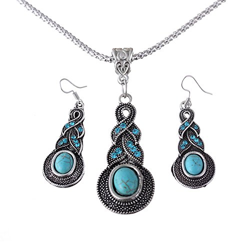 [Girl Era Cheap Twist Turquoise Pendant Silver Chain Necklace Dangle Earrings Jewelry Set] (Costumes Jewelry Online)