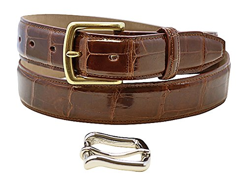 (Size 34 Cognac Genuine Alligator Belt - American Factory Direct - Gold and Silver Buckle Included - 1.25 inch Wide - Made in USA by Real Leather Creations Tail FBA720)