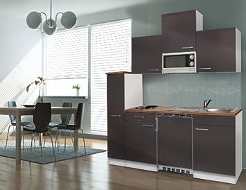 Gut Respekta Single Küche Küchenzeile Küchenblock 180 Cm Weiß Grau APL Butcher  Nussbaum Mikrowelle Ceran KB180WGMIC