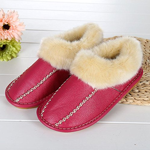 Mhgao Casuales De Imitación De Cuero Acolchado Cálido Zapatillas En Otoño E Invierno Zapatillas Mujer, Rojo, 39