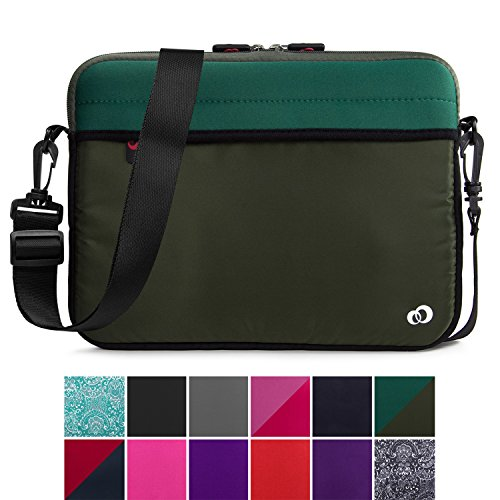 Kroo 12-13 Inch Laptop Sleeve Tablet Bag, Water Resistant Neoprene Notebook Computer Carrying Cover for Apple MacBook, Microsoft Surface, Chromebook (Olive Green)