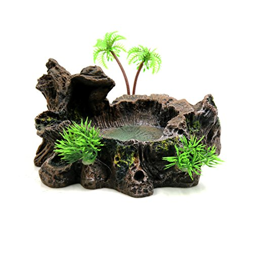 Uxcell Black Resin Lifelike Tree Trunk Design Food Water Bowl