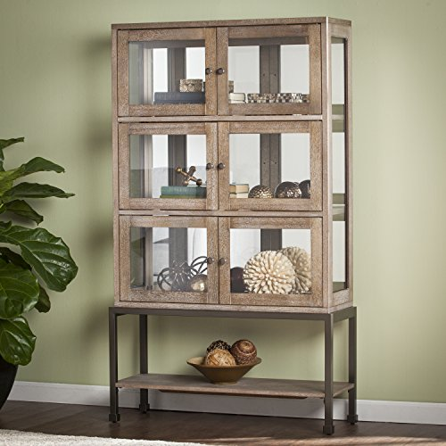 Beldrim LED Lighted Mirrored Back 3 Double-door Contemporary Curio in Burnt Oak (Cabinet China Glass Oak)