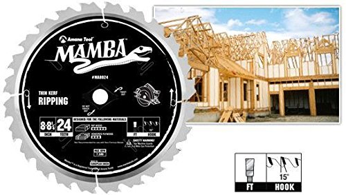Amana Tool MA8024 Carbide Tipped Thin Kerf Ripping Mamba Contractor Series 8-8-1/4 Inch Dia x 24T, F ()