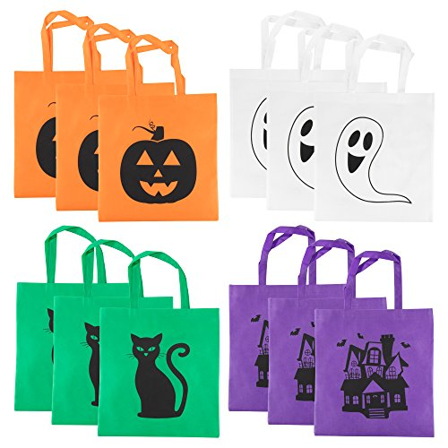 Halloween Tote Bags - 12-Pack Reusable Trick-or-Treat Bags, Party Gift Bags, Candy Goodie Toy Bags for Kids Halloween Party Favors, 3 of Each 4 Designs, 15 x 16 Inches -