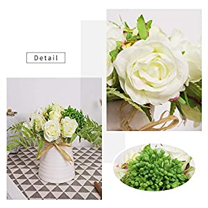 YUYAO Artificial Flowers Rose Bouquets with Vase Fake Modern Bridal Flower with Ceramic Vase for Wedding Home Table Office Party Patio Decoration (Champagne) 2