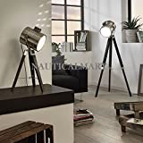 Decorative Search Light Tripod floor lamp / Wood & Chrome / Black SET OF 2