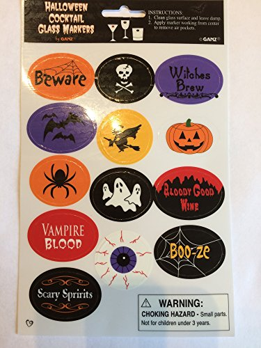 Halloween Wine Glass Drink Cling Markers - Fun Party Decoration Props - Wine Charms Alternative - Set of 13 ()