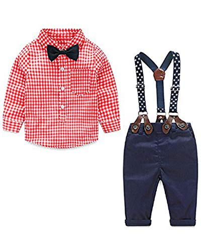 Winter Kids Toddler Infant Baby Boys Girls Fall Outfit Plaid Pocket Hoodie Sweatshirt Jackets Shirt+Pants Winter Clothes Set (18-24 Months, Red) (Day Cute Outfits Christmas)
