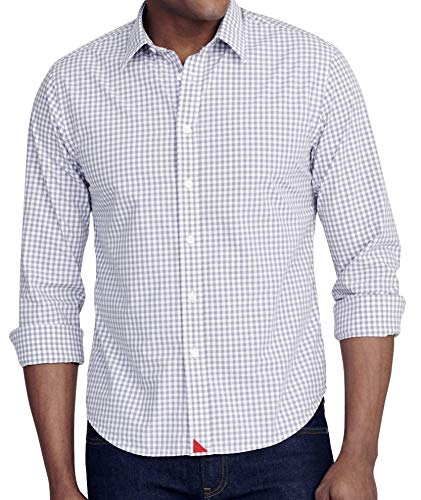 UNTUCKit Dunn - Men's Button Down Shirt Long Sleeve, Grey Gingham, Medium Regular Fit