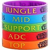 League of Legends Top selva Adc mediados apoyo Unisex mano pulsera de silicona 6 piezas Color al azar