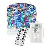 perfect patio decorating ideas design Anxus LED String Lights 33 ft with 100 LEDs - Multicolor, Waterproof Outdoor & Indoor Decorative Fariy Lights for Bedroom, Garden, Patio -Copper Wire Lights Battery Operated with Remote Control