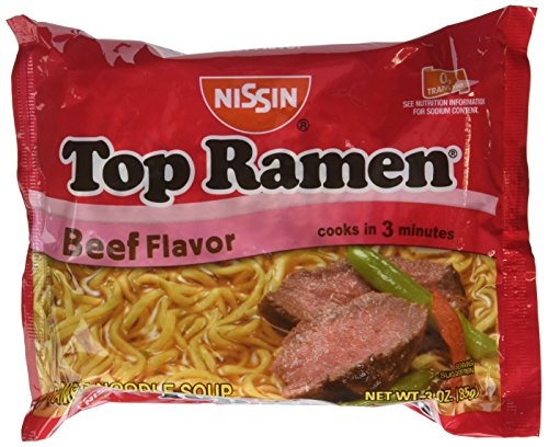 Nissin Top Ramen Beef Flavor Ramen Noodle Soup 3 oz (Pack of 24)