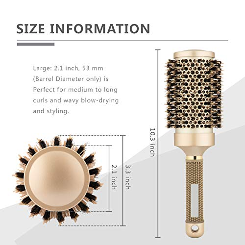 Round Brush for Blow Drying, Hair Brush With Boar Bristle, Nano Thermal Ceramic Barrel Ionic Tech Hair Brush, for Styling,Curling and Straightening (3.3 Inch, Barrel 2.1 Inch)