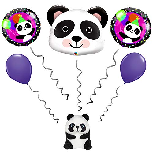 Panda Bear 5 Piece Balloon Bouquet with Panda Bear Balloon Weight Farm Birthday Party Decorations Supplies (Balloon Bear Weight)