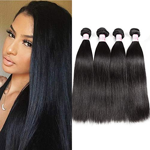(Gluna Hair Brazilian Straight Virgin Hair 4 Bundles Grade 8A 100% Unprocessed Straight Hair Mink Brazilian Human Hair Extensions, (Natural Color 24