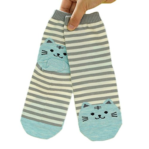 Jys Women Fashion 3d animales dibujos animados Calcetines de rayas Cat Footprints Piso calcetines de algodón,  gris