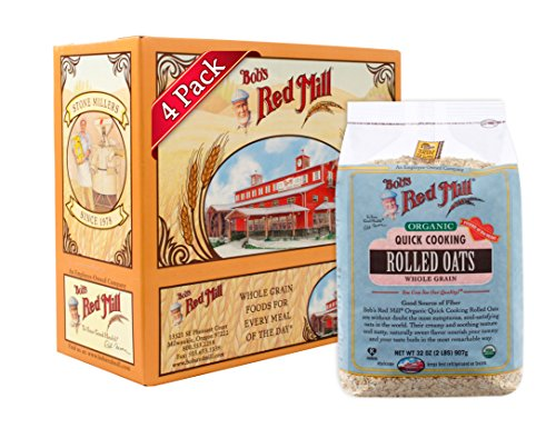 Bob's Red Mill Organic Oats Rolled Quick, 32 oz (Pack of 4)