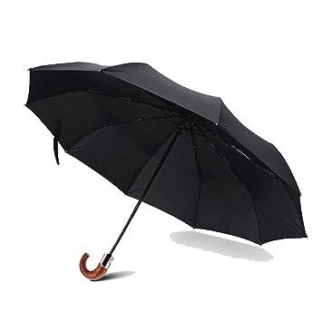 SXMAN Paraguas Plegable automático con 10 Ganchos de Hueso, Paraguas automático Transparente para Hombre,