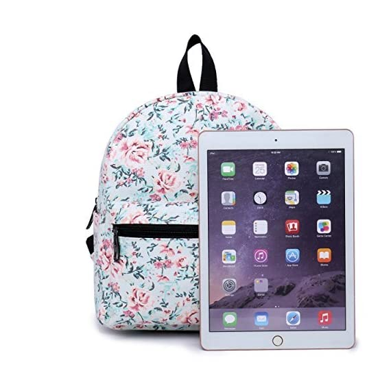 """Lightweight Travel Mini Backpack for Women and Teens (Beach White Small) 3 <p>MEDIUM size 15-inch backpack. Please note there are two sizes: small and medium. This medium-sized backpack is 15.5"""" tall x 11.5"""" wide x 6.3"""" deep. Binders, folders and laptop computers will fit. See pictures and description for reference and further details. POCKETS. Two side pockets for water bottles, sun-glasses, etc. Front zippered pocket for small items such as pens, phone, etc. Large main compartment with heavy-duty double zippers for big items such as laptop, binder, books, notebook, folder, and more. PERFECT for laptop. Convenient internal sleeve is ideal for a 14-inch laptop computer, tablet or iPad. Perfect fit for MacBook, MacBook Air or MacBook Pro 13-inch. Maximum laptop size is about 13-1/2"""" x 10"""" x 1"""" thick. DURABLE and PRACTICAL. Heavy-duty 600 denier oxford canvas exterior with padded back. 210 denier oxford interior lining. Adjustable foam-PADDED SHOULDER STRAPS fit all sizes from small teens to full-grown adults. OTHER USES: Lightweight carry on travel bag, ladies large backpack purse, cute preschool diaper bag, elementary school student bookbag, hiking, picnic etc.</p>"""