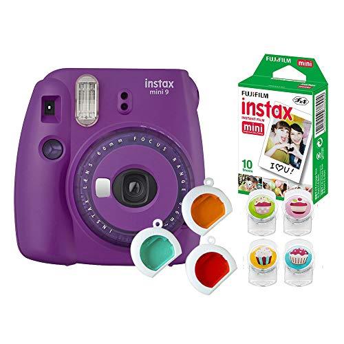 Câmera Instantânea Instax Mini 9 com 3 Filtros Coloridos + Pack 10 Fotos + 4 Clips Magnéticos Coloridos para Fixar Fotos, Fujifilm, INSTAXKIT31R, Roxo Açai