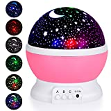 Adoric Kids Night Light, Star Moon Light Rotating Projector, 4 LED Bulbs 8 Modes USB Cable, Night Lighting Lamp for Nursery Baby Children Kids Bedroom Birthday Christmas (Pink)