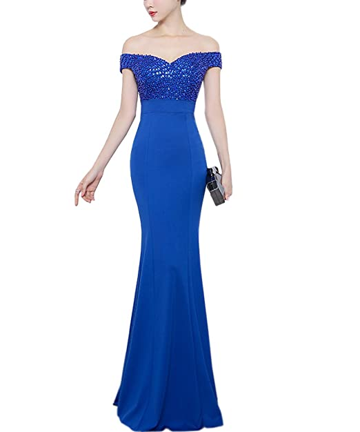 KAXIDY Encaje Largos Vestido Elegante Mujer Vestidos Vestidos de Novia Vestidos Noche (Small, Azul