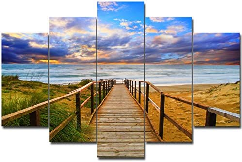 SureArt Framed Canvas Painting, Modern Wall Art, Home Deco, Seascape sea view, wooden bridge -5PCS SET L size-framed