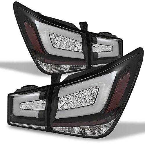 For 11-15 Chevy Cruze J300 Black Bezel LED Light Tube Design Full LED Tail Lights Brake Lamps 4pcs Set -