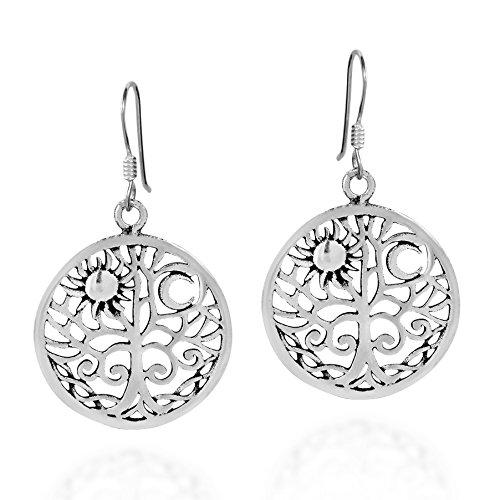 (Sunshine and Moon Celtic Swirl Tree of Life .925 Sterling Silver Dangle Earrings)
