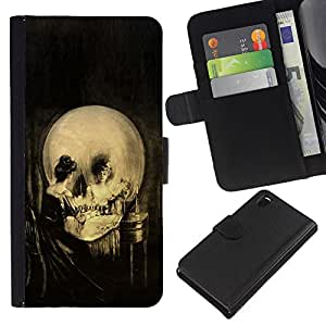 KLONGSHOP // Tirón de la caja Cartera de cuero con ranuras para tarjetas - Vintage del arte del cráneo - Sony Xperia Z3 D6603 //