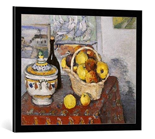 kunst für alle Framed Art Print: Paul Cézanne Nature Morte à la soupière - Decorative Fine Art Poster, Picture with Frame, 27.6x21.7 inch / 70x55 cm, Black/Edge Grey