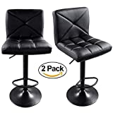 FCH Set of 2 Square PU Leather Barstools Height Adjustable from 24'' - 30'' 360°Swivel Bar Stools with Large Paded Seat/Backrest/Footrest for Kitchen, Home, Office (Black)