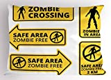 Ambesonne Zombie Pillow Sham, Safe Area Zombie Free Safe Protection Zone Caution Sign from Horror Movie Design, Decorative Standard Size Printed Pillowcase, 26 X 20 Inches, Yellow Black