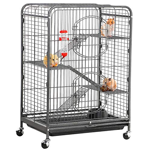 Yaheetech 37-inch Metal Ferret Chinchilla Rabbit Guinea Pig Cage Small Animals House 4 Levels Indoor Outdoor Black