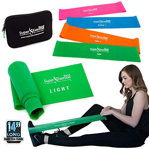 "(Super Exercise Band 14"" x 3"" Long Light Strength Mini Loop Bands and Green Flat Band Set. Latex Free Resistance Bands for Physical Therapy, Pilates, Stretch, Yoga, Strength Training)"