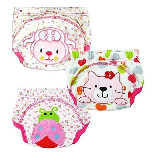 GVESS 3 Pcs Baby Toddler Girls Cute Potty Training Pants Reusable(L)
